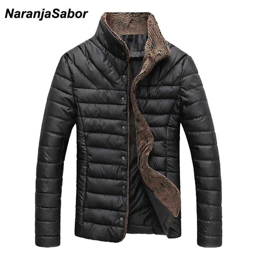 NaranjaSabor New Autumn Winter Men's Jacket Casual Warm   Parkas   Male Thick Coats Single Breasted Outerwear Mens Brand Clothing
