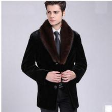 Casaco Masculino, большой размер, Мужская теплая зимняя куртка с воротником из искусственного кроличьего меха, пальто из искусственного меха, деловая верхняя одежда из искусственного меха K390