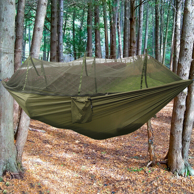 1 Set Outdoor Camping Double Hammock Tree 2 Person Patio Bed Swing With  Mosquito Net 260