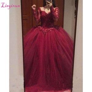 Бальное платье, бальное платье бордового цвета с длинным рукавом, Кружевная аппликация из бисера тюля, пышное платье большого размера для выпускного бала