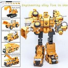 купить 5 - in -1 metal alloy plus plastic engineering deformation Hercules robot truck model toy excavator children's gift по цене 1272.01 рублей