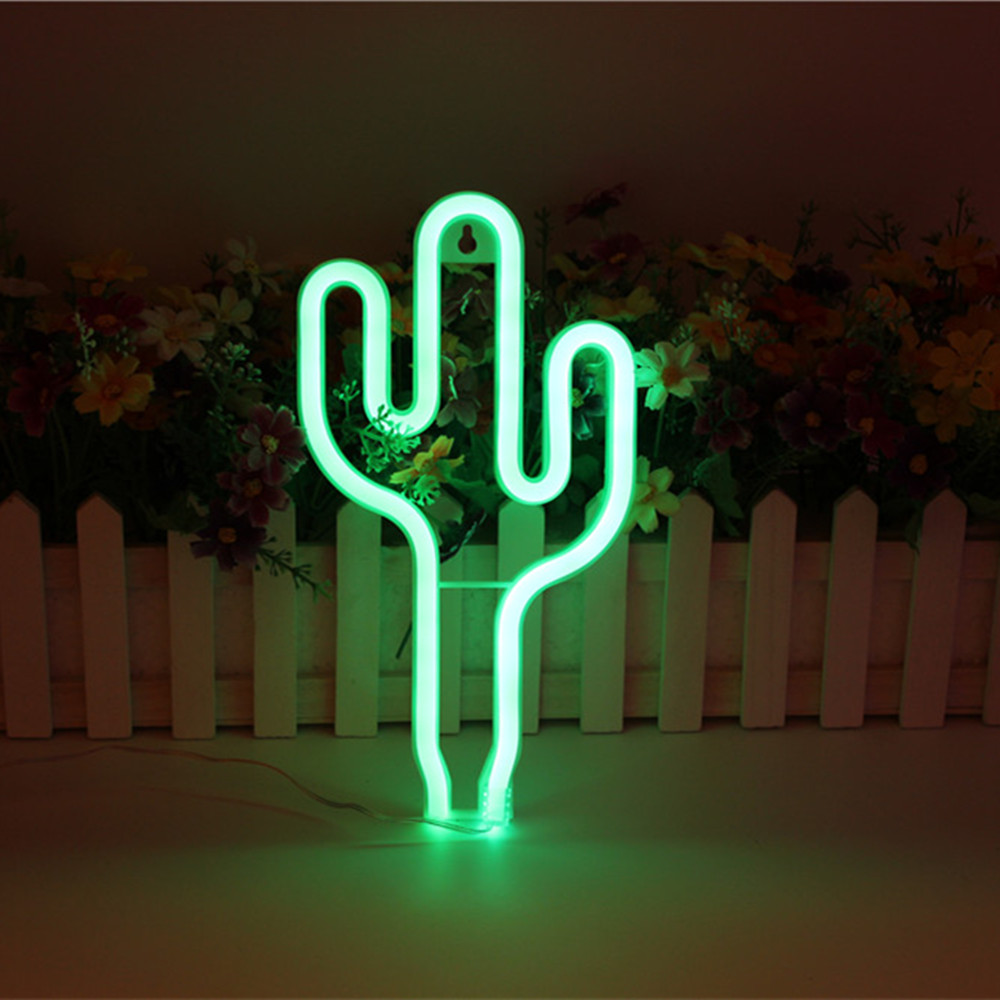 Yiyang Cactus Neon Night Light Lamp Strip Green Battery