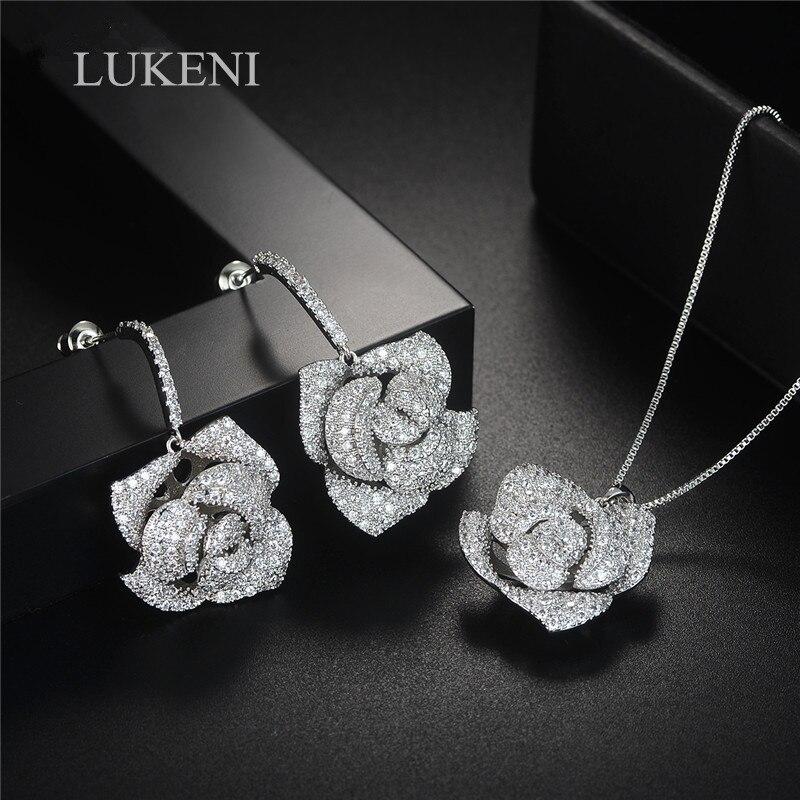 LUKENI White CZ Cubic Zircon Flower Drop Pendant Necklace Earrings Jewelry Set Jewelry