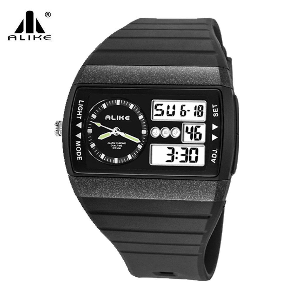 2016 Alike Luxury Brand Men Women Military Sports fashion casual 50m waterproof Watch dual time Digital LED quartz Wristwatches alike 2015 50m relojes 14109