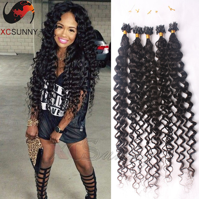Peruvian Loose Curly Micro Loop Remy Hair Extensions 100 Strands