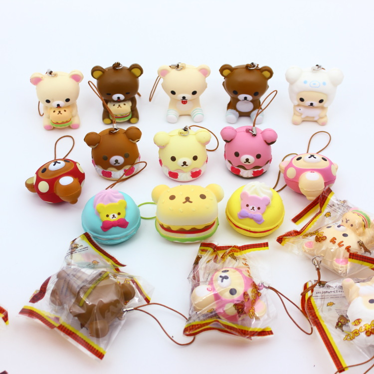 Wholesale 10pcs/lot Original Packing Soft Kawaii Squishy Mix Rilakkuma Queeze Bun Toy For Cell Phone San-x Squishies Bread Automobiles