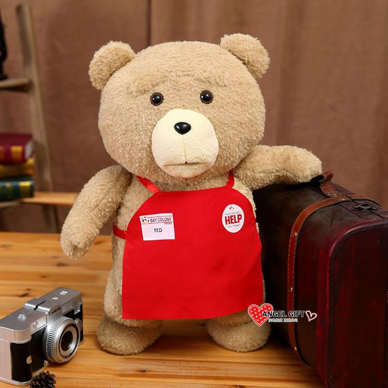 Big size Teddy Bear Ted 2 Plush Toys In Apron 45CM Soft Stuffed Animals Dolls For Baby Kids Christmas Gifts