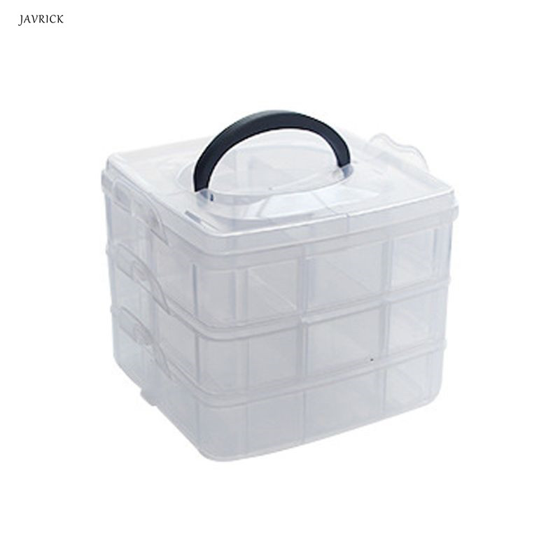 3 Layer 18 Grids Transparent Portable Large Adjustable Jewelery Organizer Storage Box Container Case Display