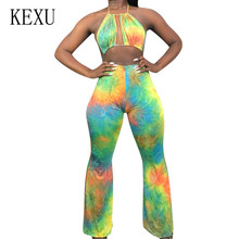 KEXU Fashion Casual Sexy Wrapped Chest Hanging Neck Tie Dyed Jumpsuits Female Open Back Sleeveless Hollow Out Printed Playsuits