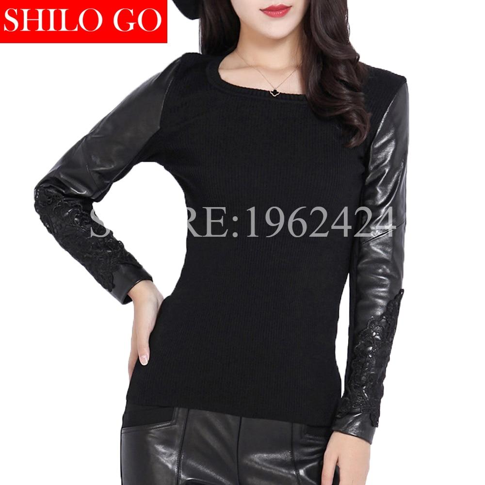 SHILO GO printemps mode femmes de haute qualité en peau de mouton manches broderie dentelle couture à manches longues pull en laine noire