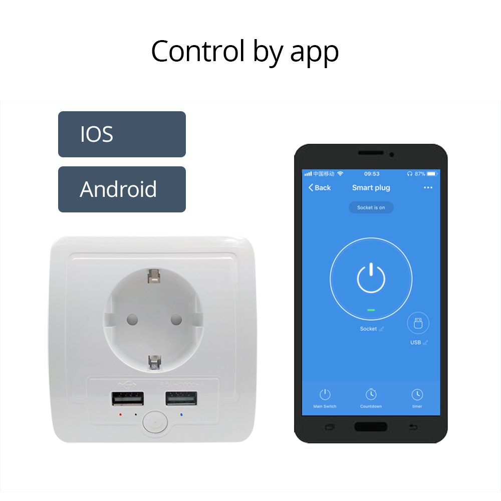EU Wall Outlet Work with Amazon Alexa Google Home with 2 USB Ports 15A output Support Phone APP Control