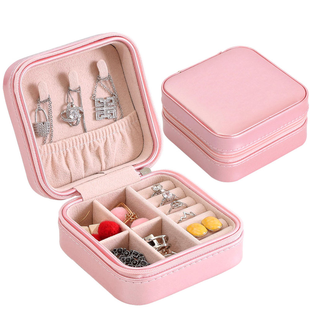 Beautiful Portable Jewelry Box Storage Organizer Zipper Portable Women Display Travel Case XH8Z DC17