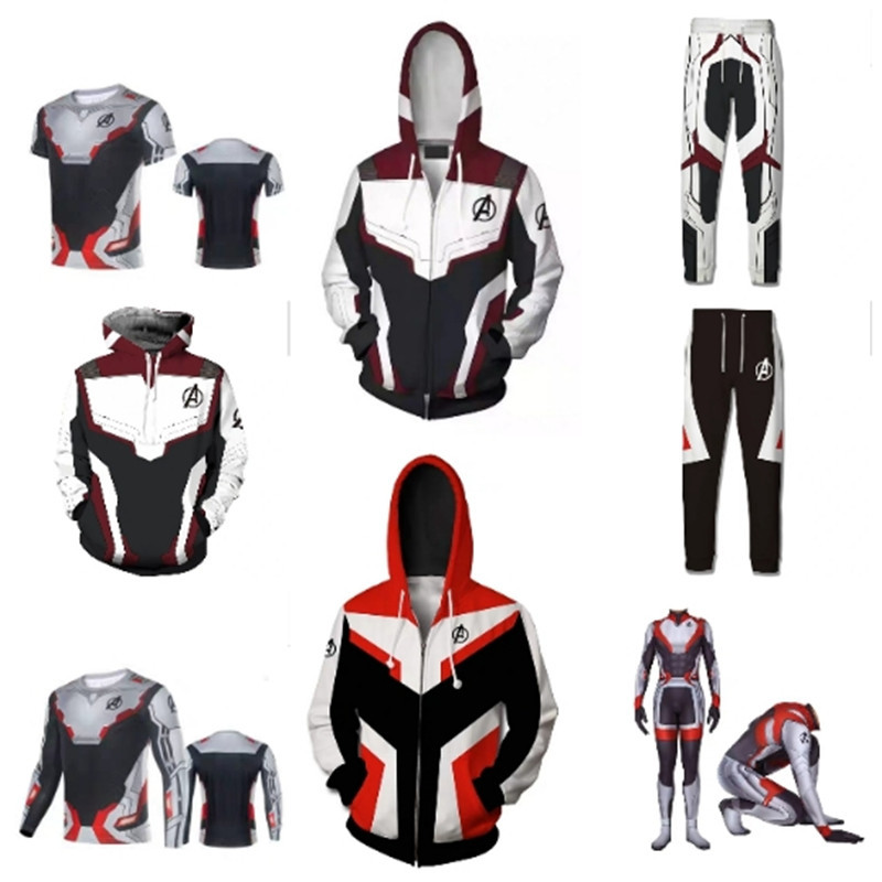 Xxxxxl Plus Size! Hoge Kwaliteit! Avengers 4 Quantum Warrior Rits Hooded Mannen 3d Trui Jumpsuit T-shirt Mannen Cosplay Films Grade Producten Volgens Kwaliteit