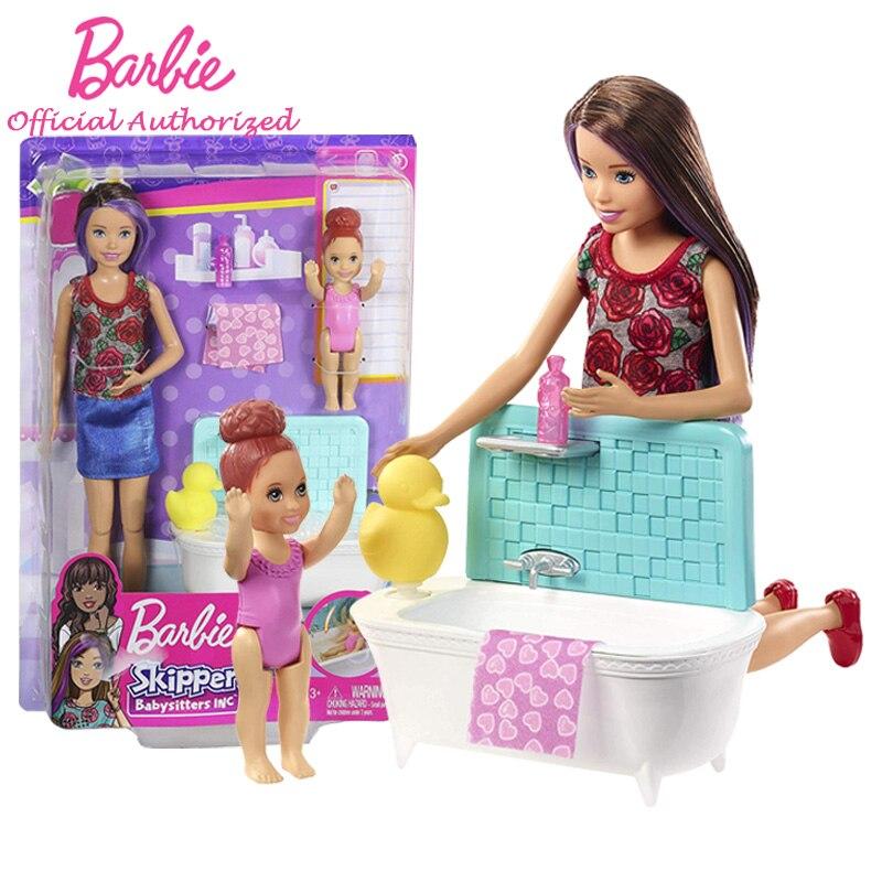Original Barbie Brand Toy Baby Wash Set Funny Pretend Doll Barbie Skipper Babysitters INC Dolls & Playset FXH05 BrinquedosOriginal Barbie Brand Toy Baby Wash Set Funny Pretend Doll Barbie Skipper Babysitters INC Dolls & Playset FXH05 Brinquedos
