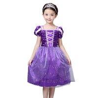 Kids Girls Tangled Rapunzel Purple Lace Princess Costume Dress Up Halloween Dress Age 3 10T Girls