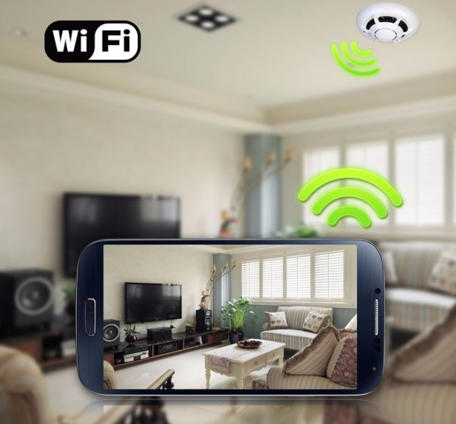 Smoke Alarm Sensor IP NETWORK WIFI SECURITY CCTV CAMERA PTZ IR-CUT  SECURITY HOME SECURITY  SD H.264 Support 32GB