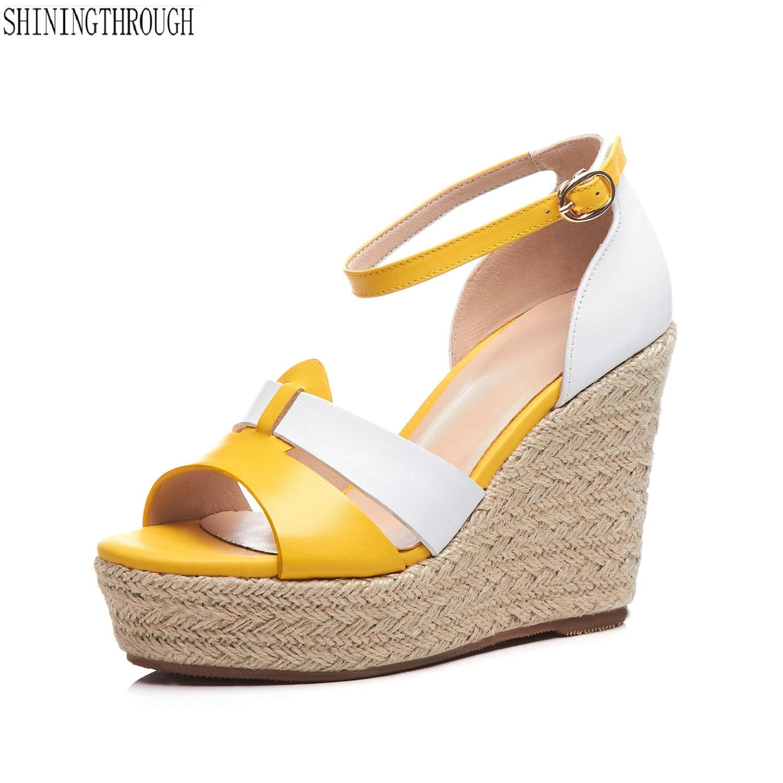 2019 nouveau cuir véritable talon compensé plate-forme femmes sandales top qualité mode chaussures femme vert jaune