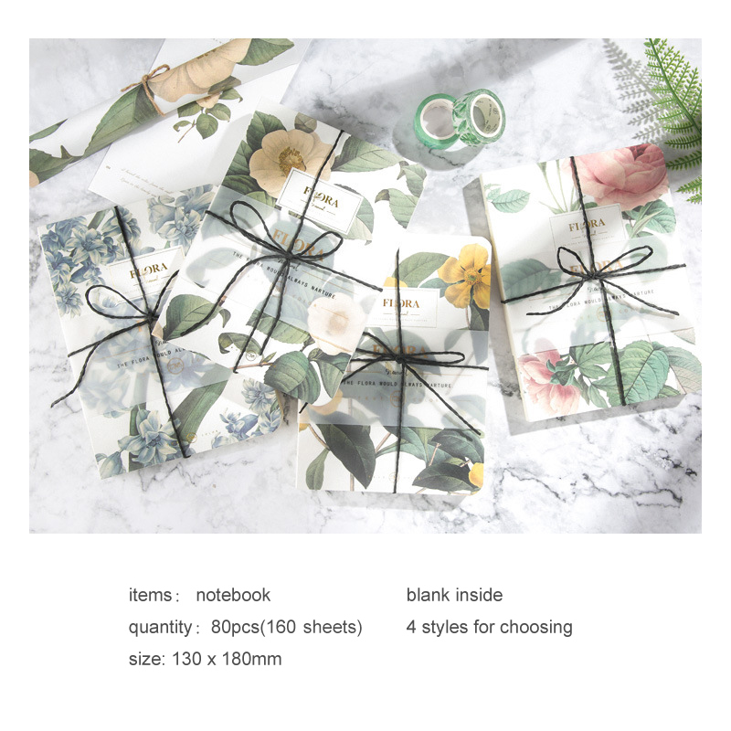 Tunacoco Retro Floral Flower Schedule Notebook Diary Weekly Planner