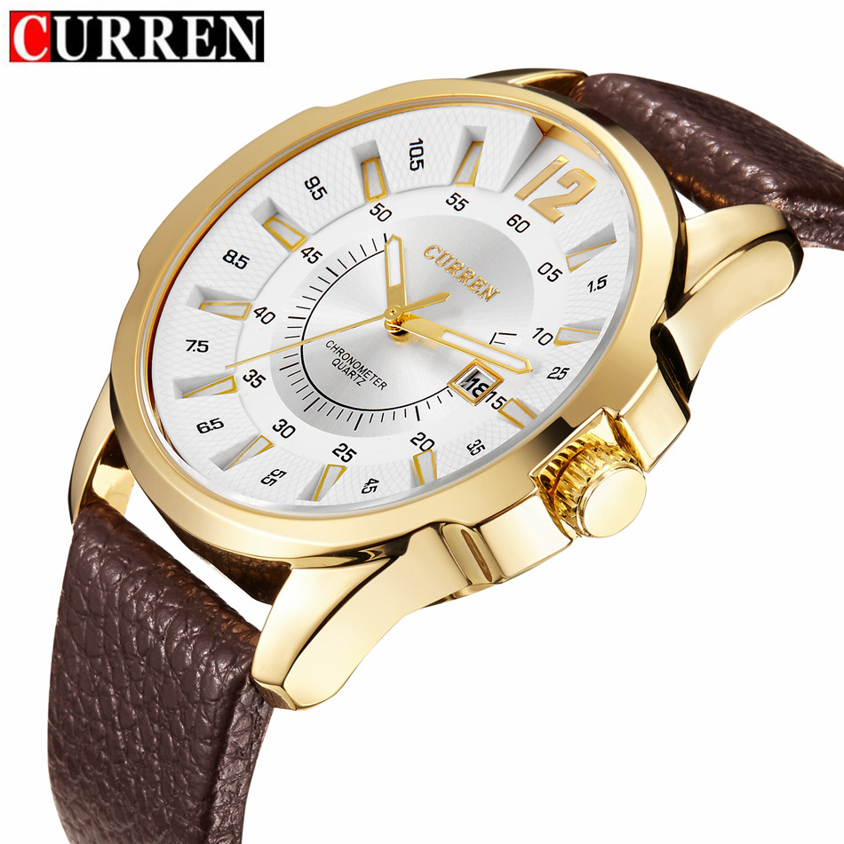 2017 CURREN Mens Watches Top Brand Luxury Military Wrist Watch Men Sport Clock Male Leather Strap Quartz Watch relogio masculino megir sport mens watches top brand luxury male leather waterproof chronograph quartz military wrist watch men clock saat 2017