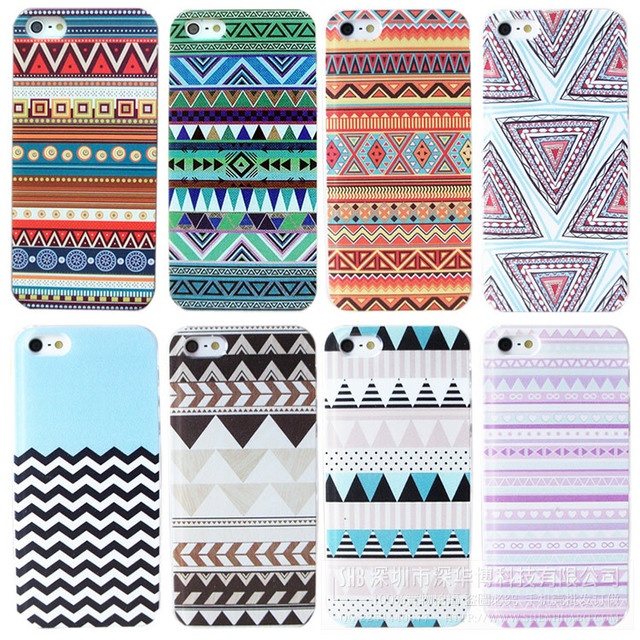 MOQ:1PC   Case for Iphone 4  4s 5 5s  Back Cover iphone4 hard Cases Wholesales Colorful Totem