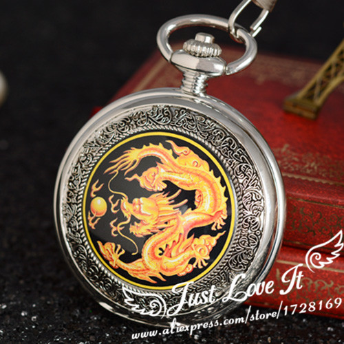 dragon playing with a pearl bronze fashion vintage mechanical pocket watches for men and women antique watch gift unique smooth case pocket watch mechanical automatic watches with pendant chain necklace men women gift relogio de bolso