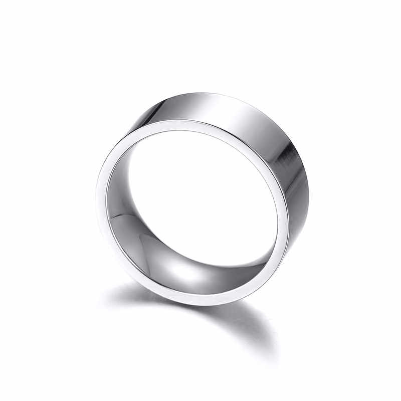 ZORCVENS Silver Color Stainless Steel Wedding Rings for Women Men Couple Promise Band Anniversary Jewelry