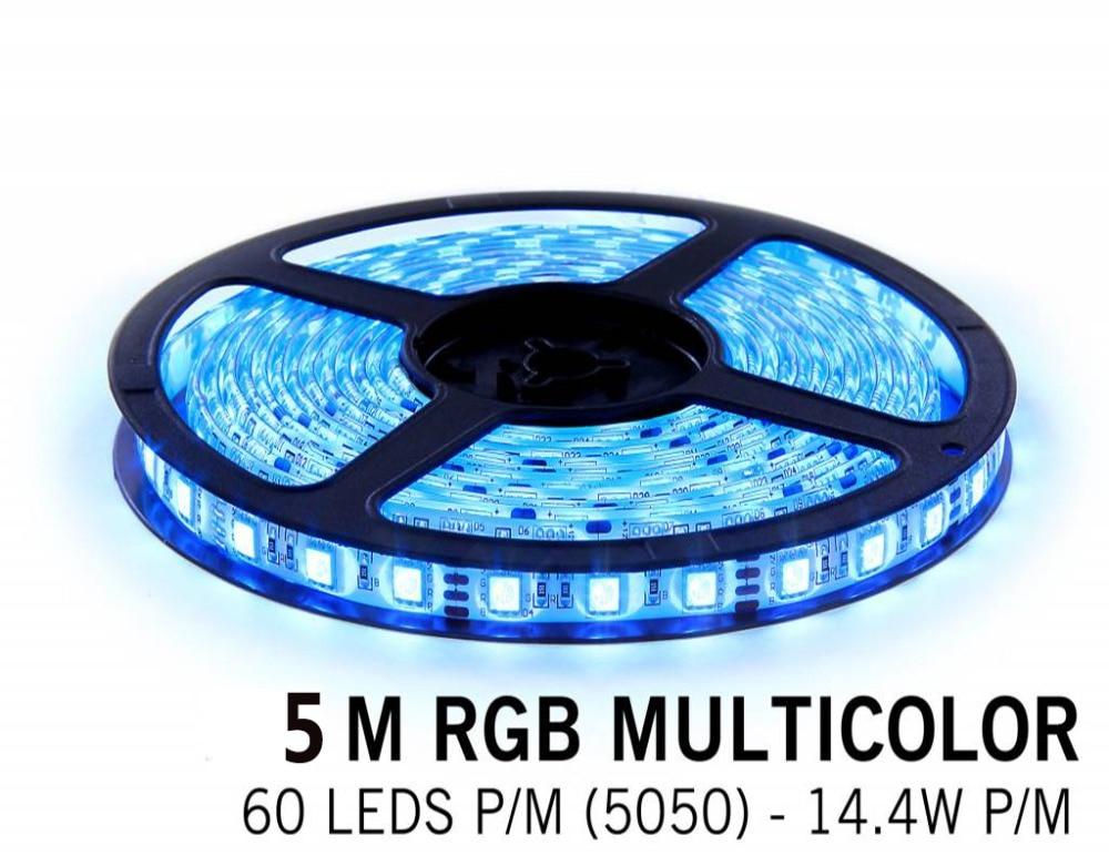 LED sloksne SMD5050 DC12V Elastīga gaisma 60 Leds / M 5M RGB Krāsa IP20 / IP65 Ūdensnecaurlaidīga LED lente mājas apdares lampas joslai