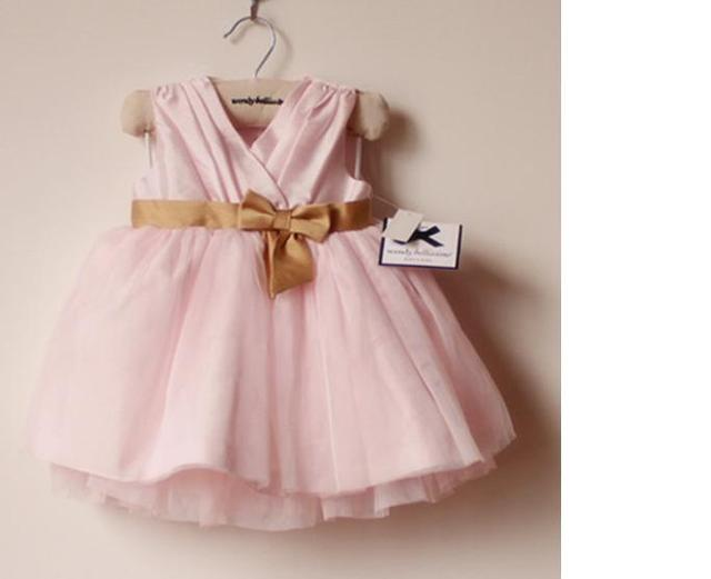 Cute Designer Baby Clothes   Free Shipping Pink Color Branded Baby Dresses Baby Party Dress Baby