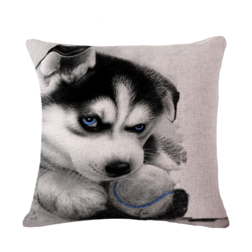 Cute Siberian Husky Dog Kids Cushion Cases 45x45cm Linen Cotton Decorative Pillow Covers Wholesale for Sofa Home Cushion