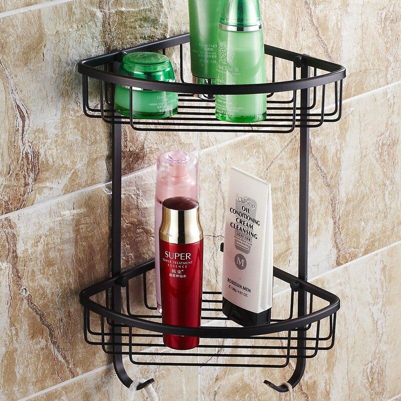 Black Oil Brushed Copper Bathroom Shelf Antique Tripod Solid Brass Corner Basket Racks Wall Mount Bathroom Accessories R8 antique copper metallic oil lighter war theme