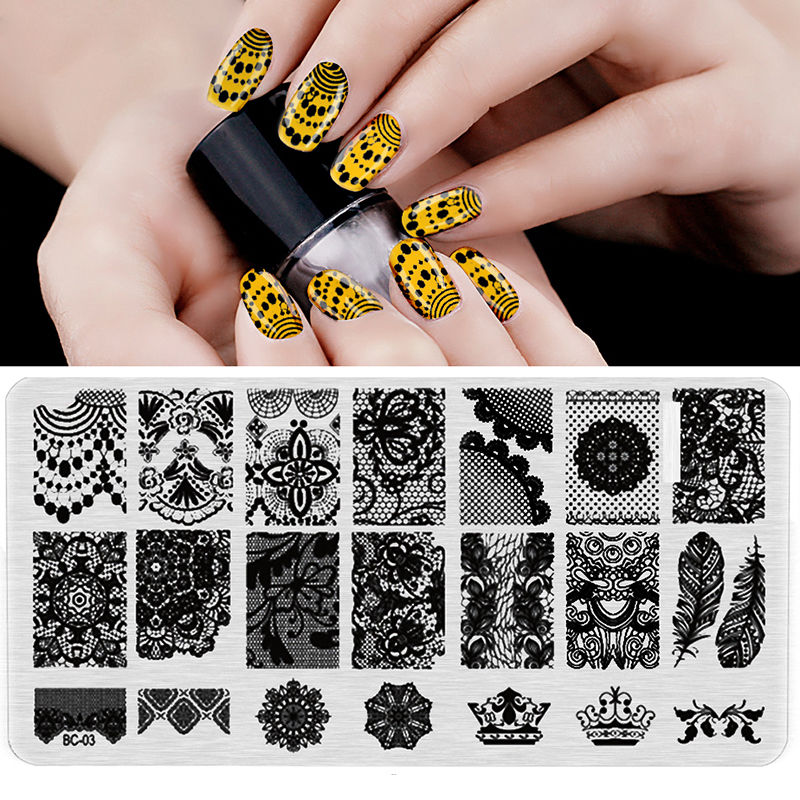 S BC 03 Image Plate 1PCS Lot New Plastic Manicure Template Nail Art Image Stamping Polish Print Plate Stamper free ship in Nail Art Templates from Beauty Health