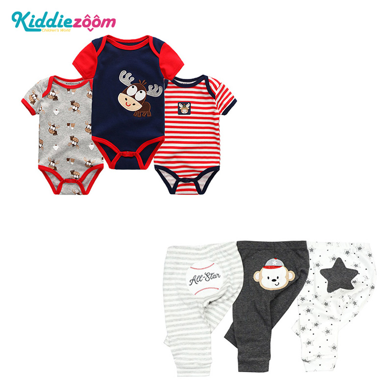 3Pcs/lot Newborn Baby Rompers&Jumpsuit 100%Cotton Baby Girls&Boys Clothing and Pants Ropas bebe Baby Clothes