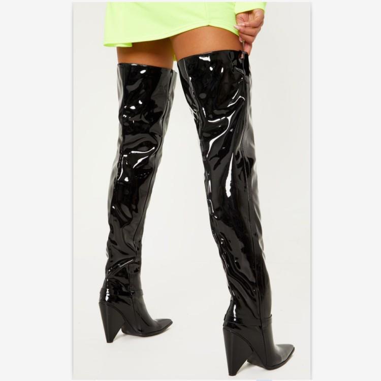Cuero Invierno En Damas Coser Brillante Alta Superior Heel Muslo Chic Del Negro Mujeres Zapatos Punta Charol Las De Spike Estrecha wqq6XRIFW