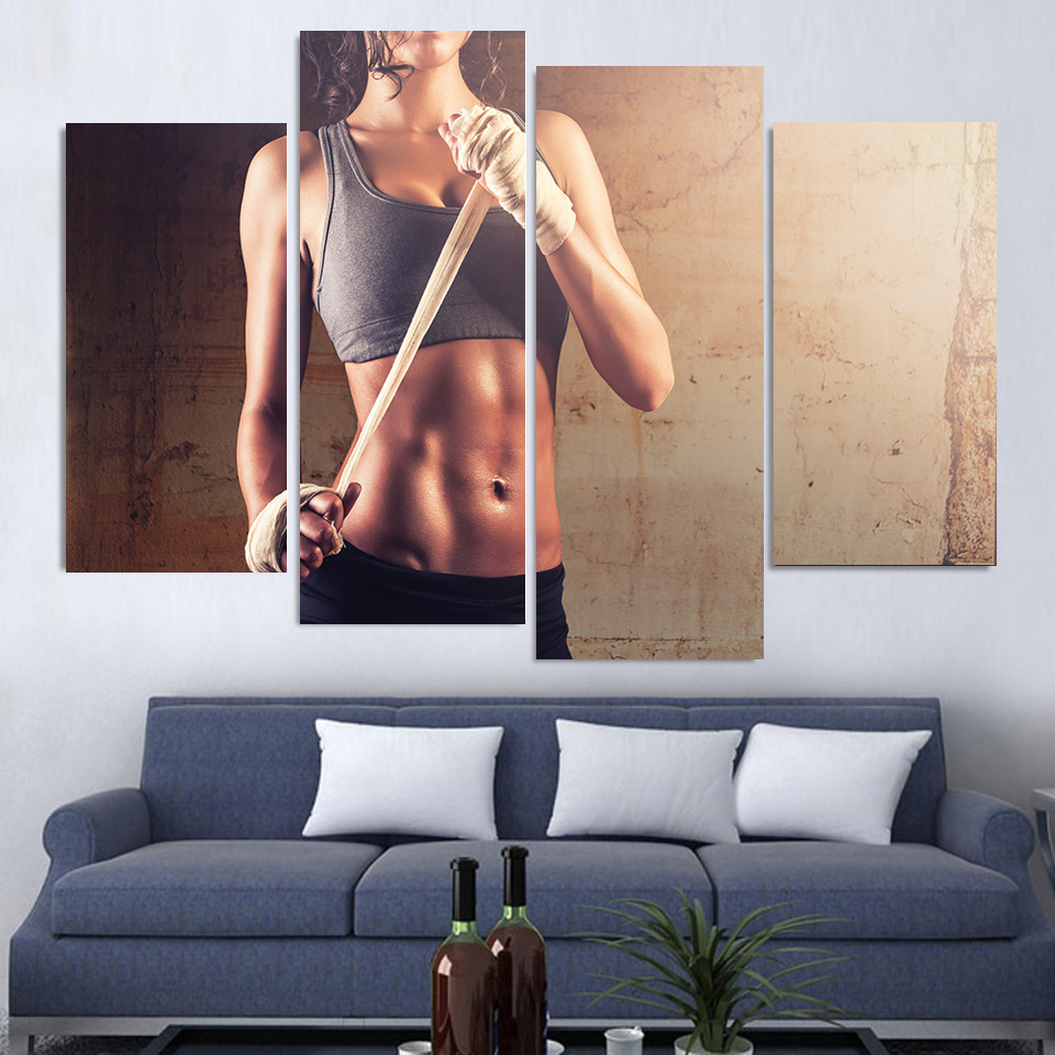 4 Teile/satz Gerahmte HD Gedruckt Fitness Sexy Gym Sport Bild ...