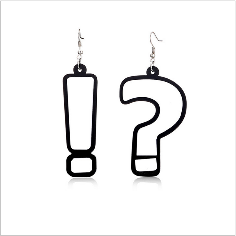NJ Brand Fun Jewelry Series Novelty design hiphop question mark exclamation mark asymmetrical earrings acrylic ladies jewelery