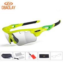 Obaolay Photochromic Cycling Bicycle Bike Glasses Outdoor Sports MTB Sunglasses Goggles Eyewear Myopia Frame