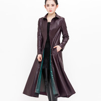 Genuine Leather Trench coat for Women 2018 Spring Autumn Sheepskin coat Slim Female Plus size Natural leather Long coats 2114
