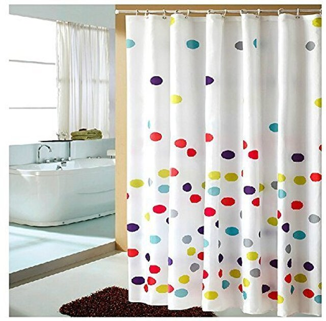 Multi Color Polka Dots Pattern Fabric Shower Curtain Waterproof No More Mildews Bathroom