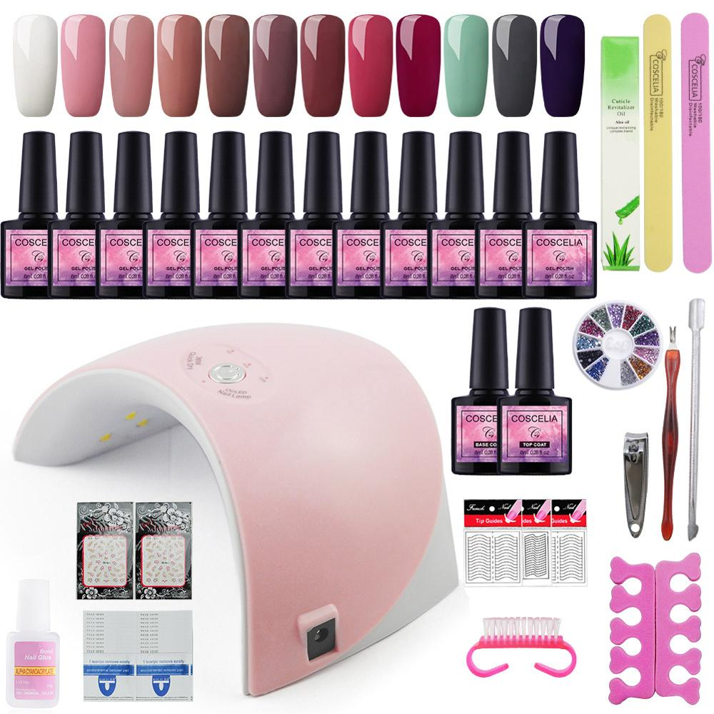 Full Manicure Set 36W UV LED Lamp Dryer 10/12 PCS Gel Nail Polish Kit Soak Off For Nail Art Varnishes For Manicure Tools