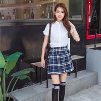 College Uniform Girls School Wear Female Short sleeved Uniform 2pcs Summer Wear Sailor Suit Blue Plaid Suit Skirt D 0185