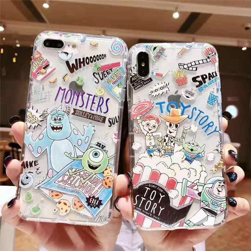 brand new 38935 b3ca2 Cute Toy Story Monsters University Mike & Sullivan Clear Air Cushion Soft  Phone Case Back Cover For iPhone XR XS MAX 6s 8 7 Plus