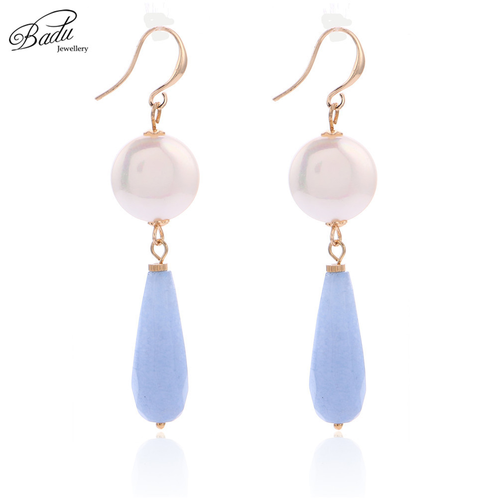 Badu Long Drop Earrings Natural Stone Pendant Women Freshwater Pearl Dangle Earrings Simplicity Summer Fashion Jewelry
