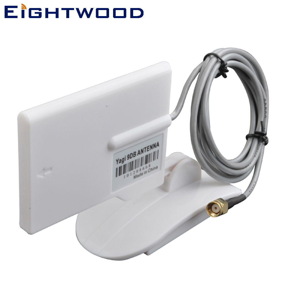 Eightwood Wifi Antenna Directional 2.4GHz 9dBi dengan 150cm Extended Cable RP-SMA Plug Connector Customizable TNC SMB MMCX MCX BNC