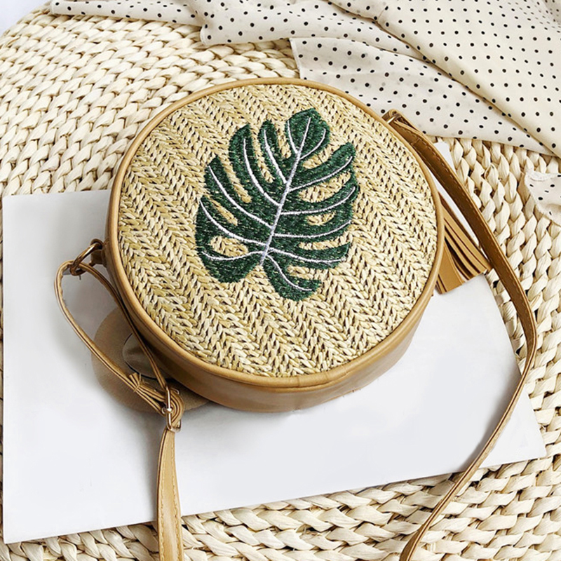 EaseHut Round Straw Bag For Women Leaves Pineapple Embroidered Summer Handmade Shoulder Bag Beach Circle Bohemian Crossbody Bag