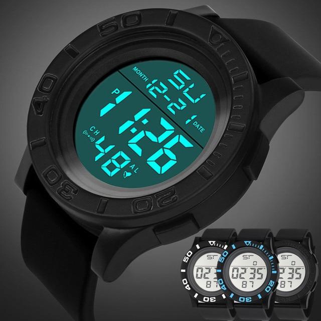Fashion Brand HONHX NEW Fashion Men's LED Digital Date Countdown Timer Sport Qua