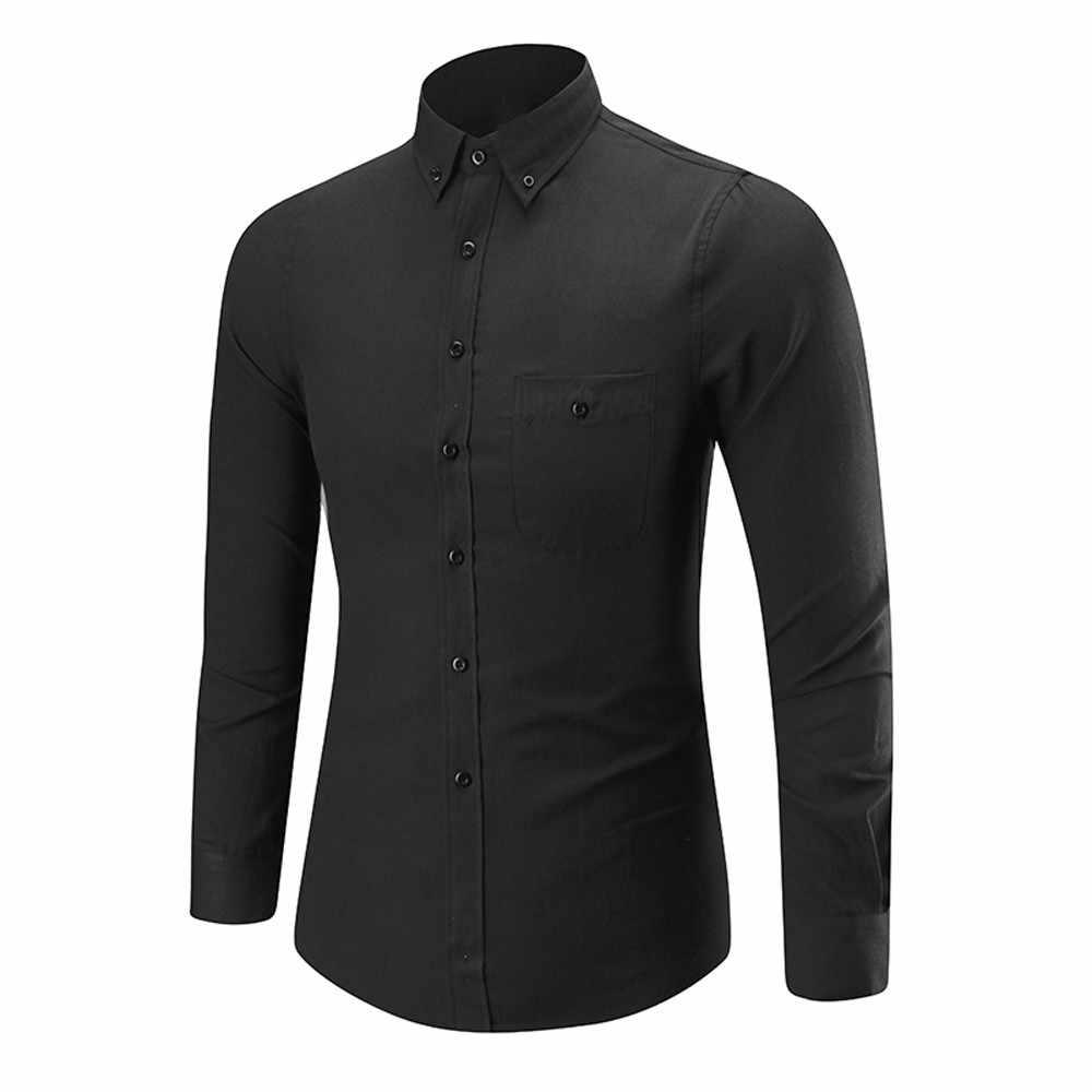 2019 新スタイル夏シャツメンズ長袖オックスフォードフォーマルカジュアルスーツスリムフィット Tシャツドレスシャツブラウストップ 4XL 高品質