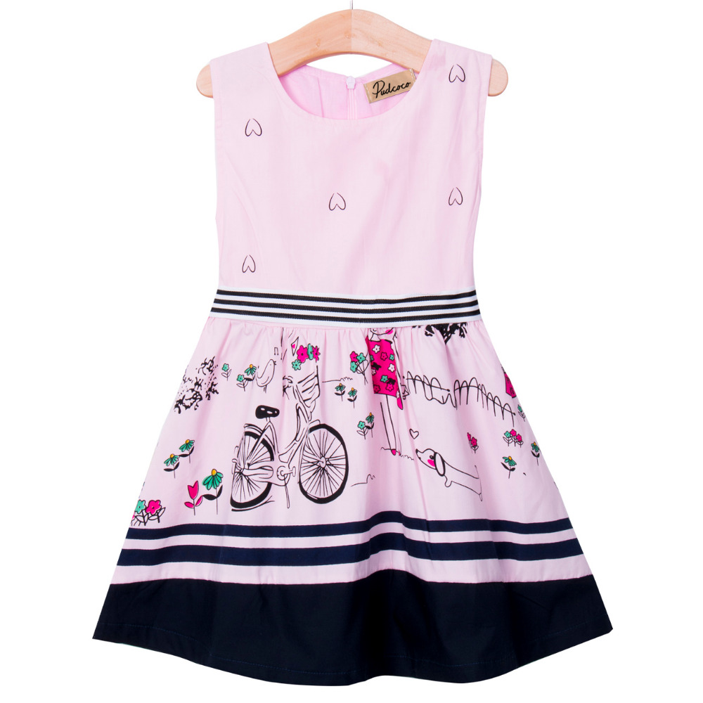 Hot Sale Vogue Kids Baby Girls Sleeveless Anime Fancy Princess Party Ball Gown Dress 2-7Y New 2016 pretty baby girls kids princess party denim tulle stitching gown fancy dress 3 8y