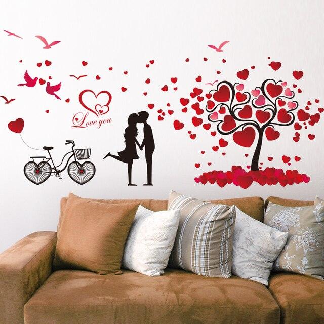Romantische liebe baum paar vögel fahrrad abnehmbare wandaufkleber ...