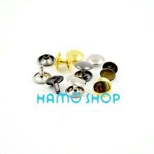 Rivet Double-Cap Metal Spike-Decoration Tubular Punk 50pcs/Lot Mix-Color 7mmx10mm