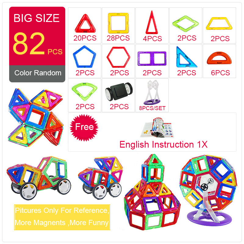 цена на 82pcs Big Size Magnetic Building Blocks Triangle Square Constructor Brick Designer Enlighten Magnetic Toys For Children Gift